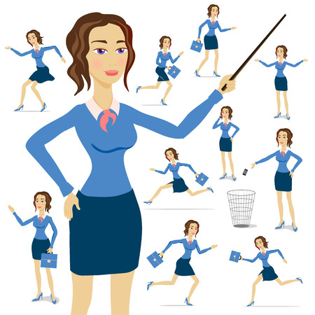 vector image: A business woman wearing a suit with her arms folded with chart background art Illustration
