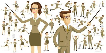 programmers: Set of working men and women sitting in their office chairs. They work with their laptop or talking on the phone. They work as graphic designers, secretaries, programmers, and journalists. art