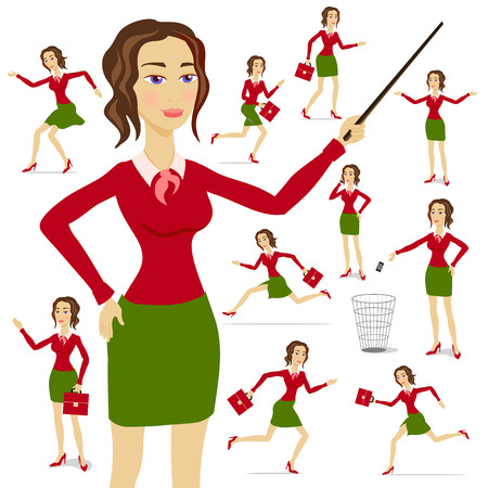 A business woman wearing a suit with her arms folded with chart background art Illustration