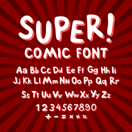 comic characters: Creative comic font. Alphabet in style of comics, pop art. Multilayer funny red & chocolate  3d letters and figures on a yellow circular striped background. For kids illustrations,  comics, banners