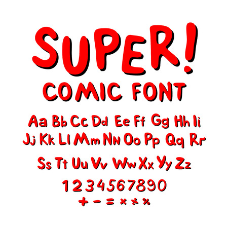 high detail: Wow. Creative high detail font for your design. The alphabet in the style of comics. Graphics pop - art on transparent background. Bright cartoon comic. 3d letters. Illustration