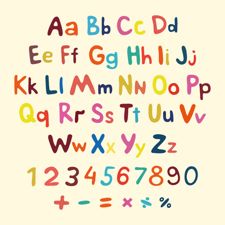 Hand-drawn vector alphabet. art children vintage symbol