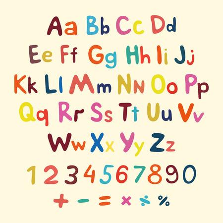손으로 그린 벡터 알파벳입니다. 아트 어린이 빈티지 기호