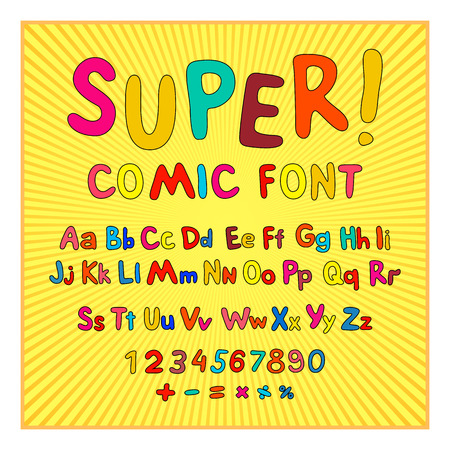 Creative comic font. Alphabet in style of comics, pop art. Multilayer funny red & chocolate  3d letters and figures on a yellow circular striped background. For kids illustrations,  comics, banners