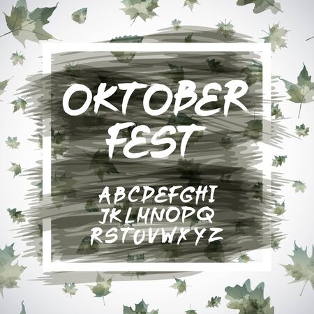 bavarian: Oktoberfest celebration design with Bavarian hat and autumn leaves art Illustration