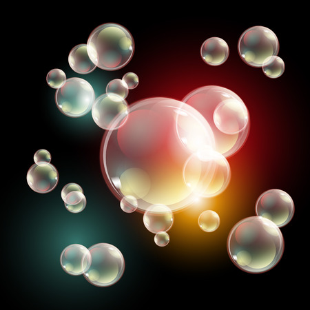 burbujas de jabon: burbujas, vector eps10 transparente jabón multicolor burbujas conjunto de vectores en el fondo a cuadros. Esfera de la bola, el agua y la espuma de diseño, aguamarina ilustración de lavado arte Vectores