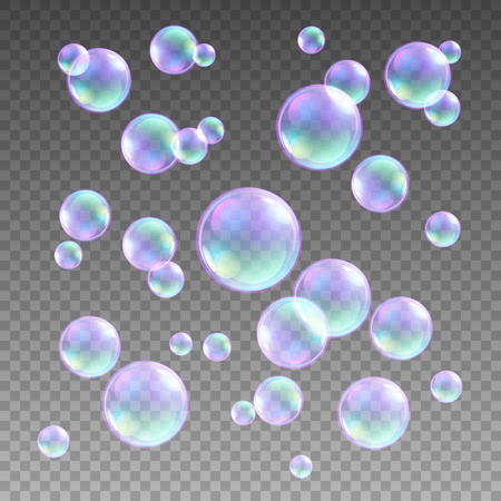 bubble background: Transparent multicolored soap bubbles vector set on plaid background. Sphere ball, design water and foam, aqua wash illustration art