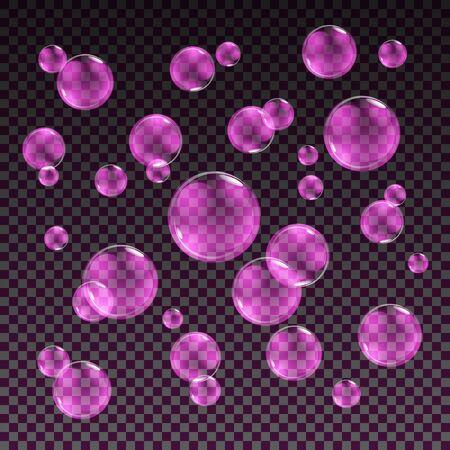 bleb: Transparent pink soap bubbles vector set on plaid background. Sphere ball, design water and foam, aqua wash illustration art