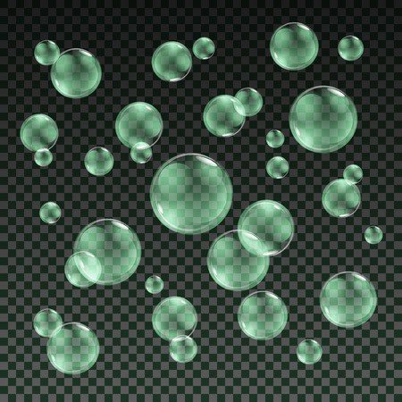 bleb: Transparent green soap bubbles vector set on plaid background. Sphere ball, design water and foam, aqua wash illustration art
