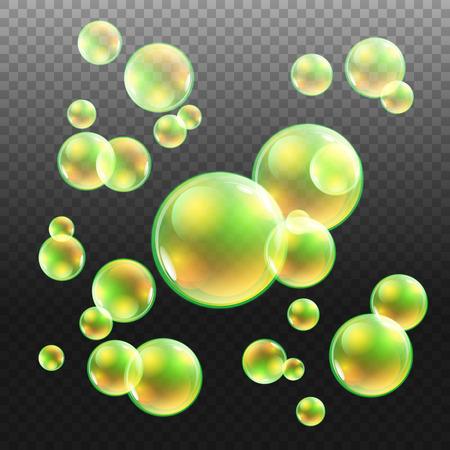 bleb: Transparent multicolored soap bubbles vector set on plaid background. Sphere ball, design water and foam, aqua wash illustration art