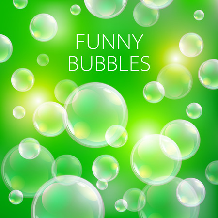 ball of water: Abstract soap bubbles vector background. Transparent circle, sphere ball, water sea and ocean pattern illustration art