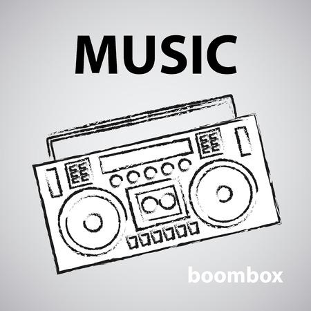 boombox vector drawing illustration retro sketch art Illustration