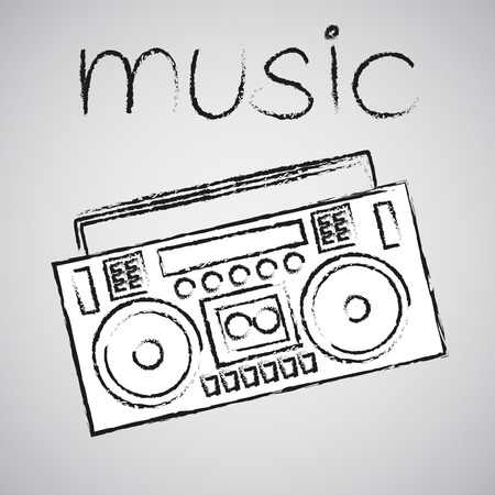 boombox: boombox vector drawing illustration retro sketch art Illustration