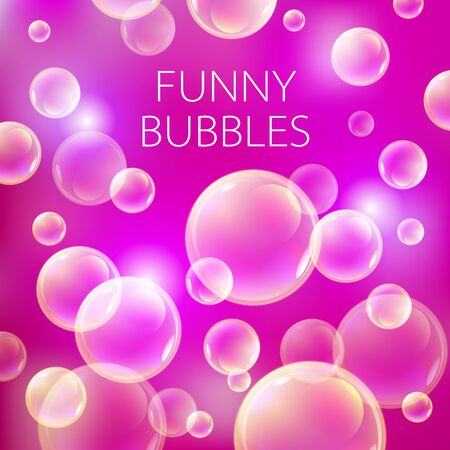 bleb: Abstract soap bubbles vector background. Transparent circle, sphere ball, pink red pattern illustration art