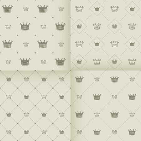 corona rey: Modelo inconsútil del vector simple con el arte de la corona