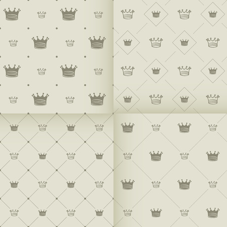 crown silhouette: Simple seamless vector pattern with crown art