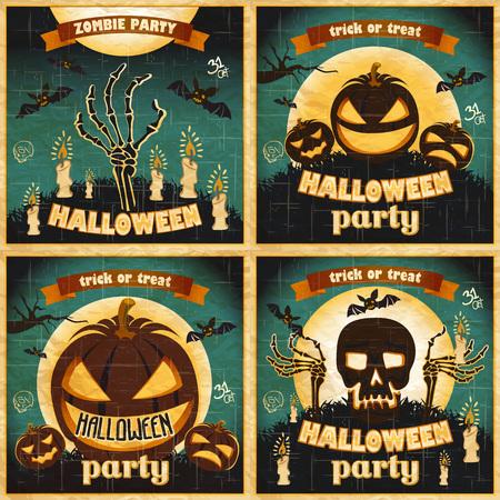 Halloween Posters set. Vector illustration. art night holiday Illustration
