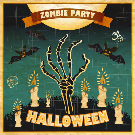 zombie: Halloween vector illustration - Dead Mans arms from the ground with invitation to zombie party art