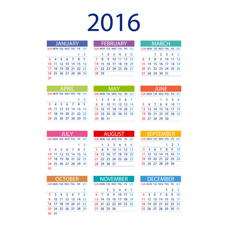calendar: 2016 calendar simple design ART vector date  template month Illustration