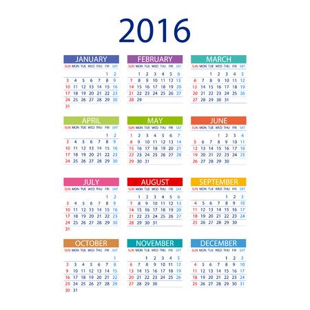 kalendarz: 2016 kalendarz prosta konstrukcja ART data wektora szablonu miesiącu Ilustracja