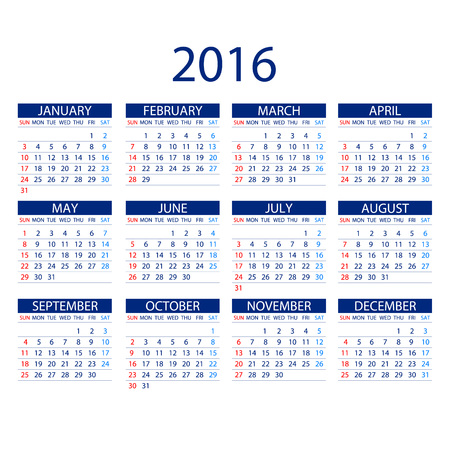 months: Calendar for 2016 on White Background. Week Starts Monday. Simple Vector Template ART