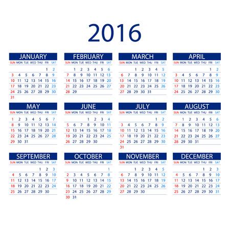 kalendarz: Kalendarz na rok 2016 na białym tle. Tydzień zaczyna się w poniedziałek. Prosty wektor Szablon ART