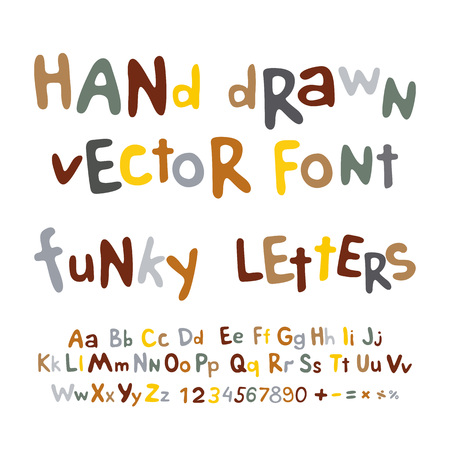 Hand-drawn vector alphabet. art funky letters font