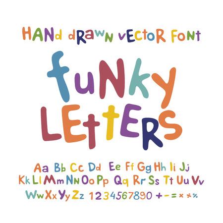 ABC アルファベット ファンキーな文字子供楽しいカラフルなセット漫画アート  イラスト・ベクター素材