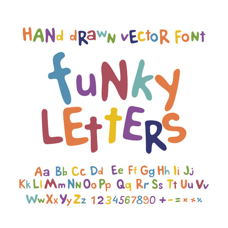 ABC alphabet funky letters children fun colorful set cartoon art
