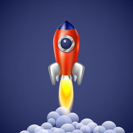 Rocket icône technologie vecteur d'espace de vaisseau spatial art symbole de feu illustration navire de bande dessinée de la flamme Banque d'images - 46853729