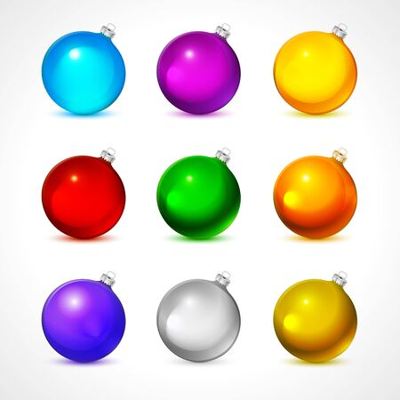blue ball: Colorful christmas balls. Set of isolated realistic decorations. Vector illustration. art Illustration