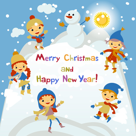 christmas party people: Shiny vector christmas background with funny snowman and children. Happy new year postcard design with boy and girl enjoying the holiday. Winter snow with bokeh effect. 2016 card art Illustration