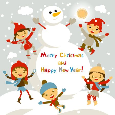 Shiny vector christmas background with funny snowman and children. Happy new year postcard design with boy and girl enjoying the holiday. Winter snow with bokeh effect. 2016 card art Ilustrace