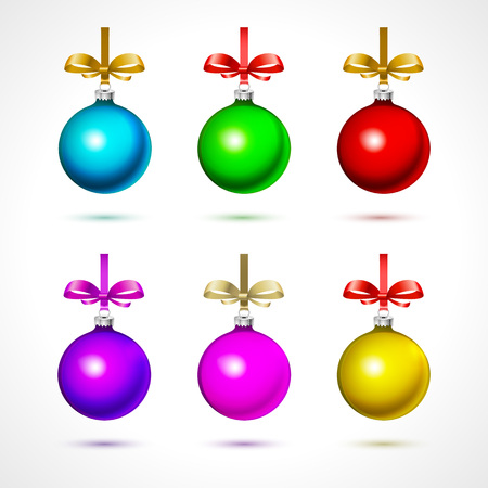 Christmas  balls with snowflakes, isolated on white background vector art