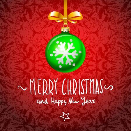 christmas present: Christmas Card with handmade text ball elements art Illustration