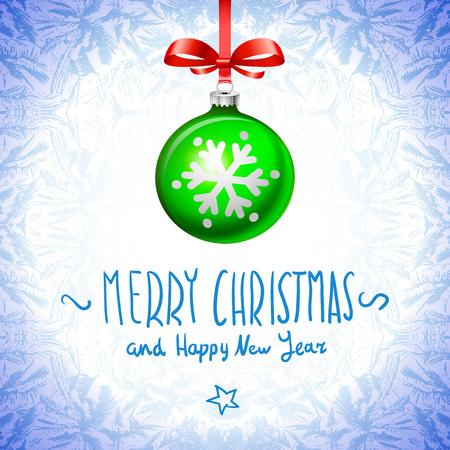 cristmas: Cristmas balls green on blue background snowflake art