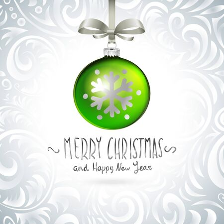 branch isolated: Vector Christmas tree branch with green ball isolated  art