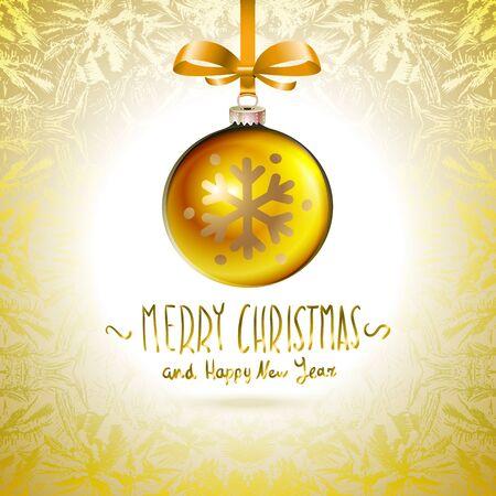 yellow  art: Golden realistic vector Christmas balls yellow art