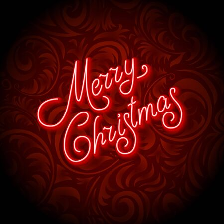 lighting background: Merry Christmas Card with Neon Color and Bokeh Lighting Background art