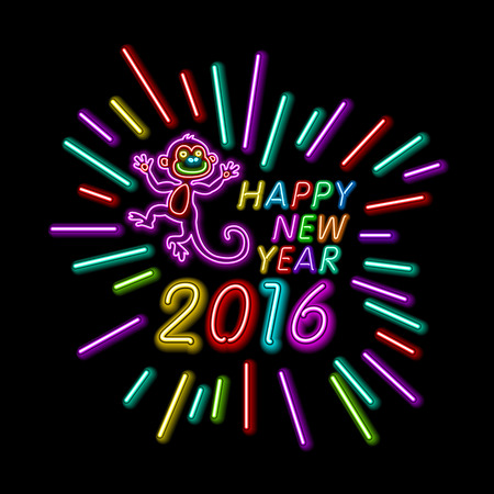 happy new year banner: Vector Illustration of 2016 new year Outline neon light BAckground for Design, Website, Banner. Holiday party Element Template. Christmas tree toy Monkey. merry christmas and happy new year art Illustration