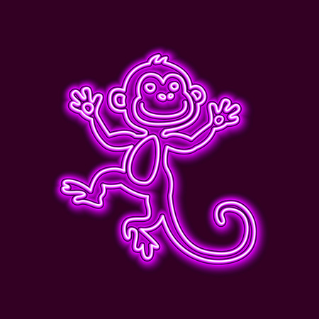 chinese new year element: Vector Illustration of 2016 new year Outline neon light BAckground for Design, Website, Banner. Holiday party Element Template. Chinese horoscope Monkey silhouette