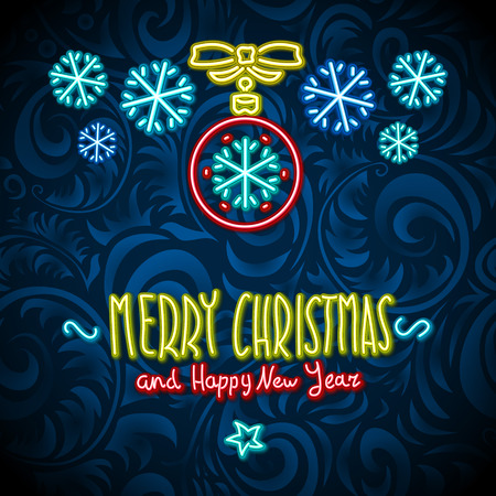 merry christmas and happy new year Neon Sign. art background
