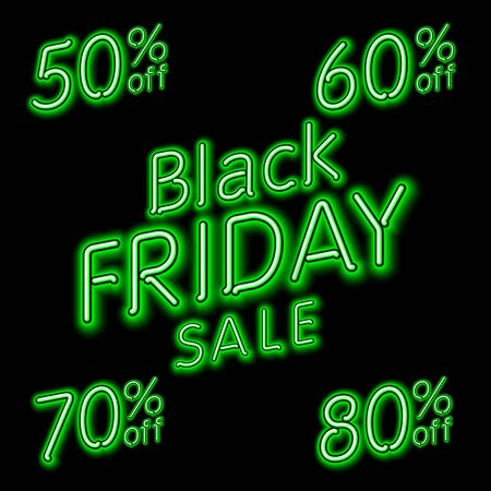 50 to 60: Black Friday Sale 50% 60% 70% 80% retro light frame. Vector illustration neon art