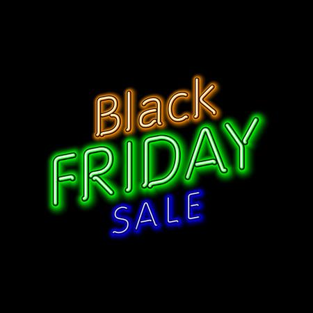 60 70: Black Friday Sale 50% 60% 70% 80% retro light frame. Vector illustration neon art