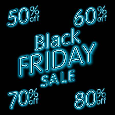 70 80: Black Friday Sale 50% 60% 70% 80% retro light frame. Vector illustration neon art