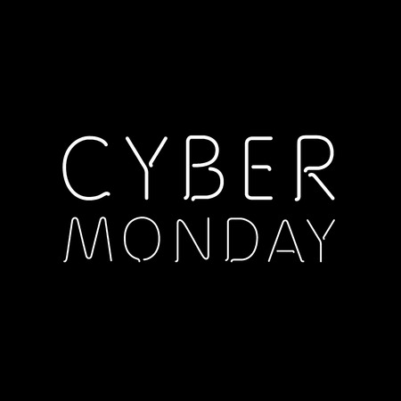 a black background with text for cyber monday art Illustration