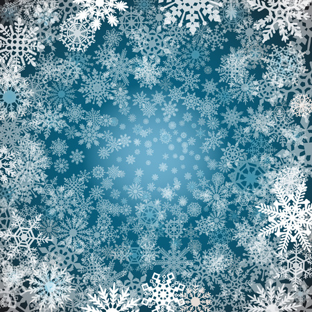copo de nieve: los copos de nieve de Navidad de fondo Fondo azul con los copos de nieve. Ilustración del vector arte