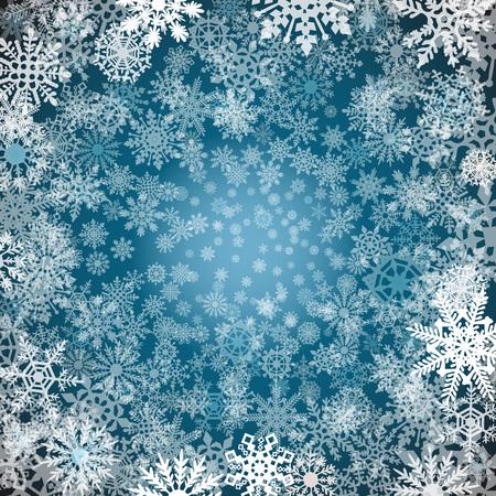 schneeflocke: Weihnachten Schneeflocken Hintergrund Blauer Hintergrund mit Schneeflocken. Vektor-Illustration Kunst