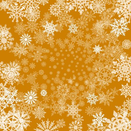 orange cut: Christmas background with snowflakes cut out of paper on orange background of Christmas symbols art