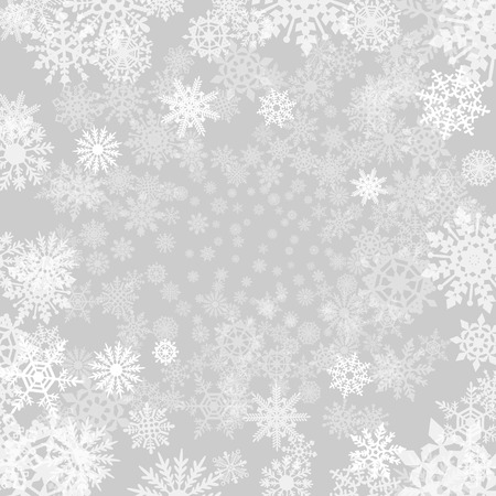 the snow: Winter grey  background with snowflakes.